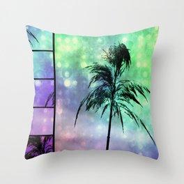 Grass Collage Purple & Green Lights Throw Pillow
