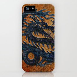 Blue Chinese Dragon on Stone Background iPhone Case
