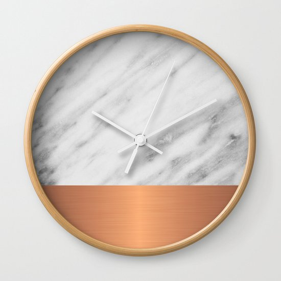 Carrara italian marble holiday rose gold edition wall clock by cafelab society6