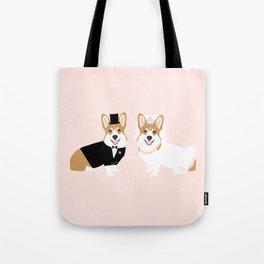Corgi Bride and Groom - cute dog wedding, corgi wedding, dog, dogs, summer cute Tote Bag