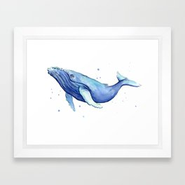 Humpback Whale Watercolor Framed Art Print