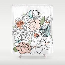 Inky Camellias Shower Curtain