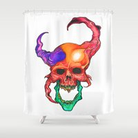 rasta Shower Curtains featuring RASTA DEMON by The Anti-Dan Artwork