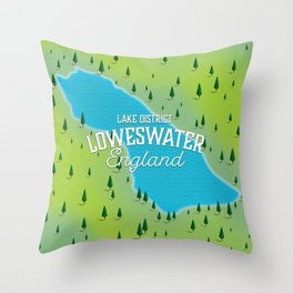 Loweswater Lake District England travel map Throw Pillow