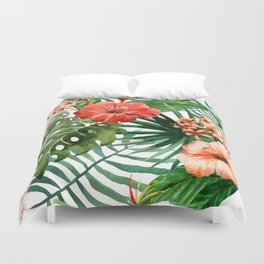 Hibiscus and Palm Leaf Pattern Duvet Cover