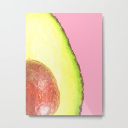 Avocado Pink Background Metal Print