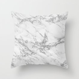 Elegant chic white gray silver glitter marble Throw Pillow