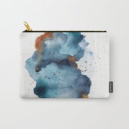 Modern Abstract Watercolor Painting in Aqua and Gold Carry-All Pouch
