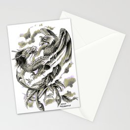 Dragon Phoenix Tattoo Art Print Stationery Cards