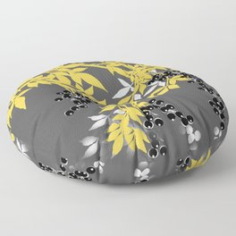 TREE BRANCHES YELLOW GRAY  AND BLACK LEAVES AND BERRIES Floor Pillow