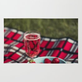 STRAWBERRIES - BOWL - RED - BLANKET - PHOTOGRAPHY Rug