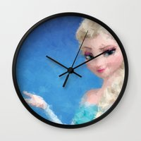 frozen elsa Wall Clocks featuring Elsa - Frozen by lauramaahs