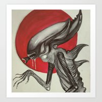 xenomorph Art Prints featuring Xenomorph by Aria-Blair