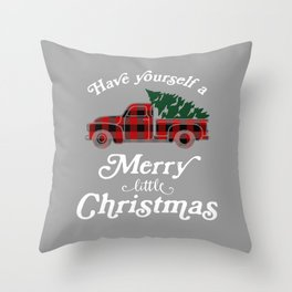 Have yourself a Merry little Christmas Vintage Truck Throw Pillow
