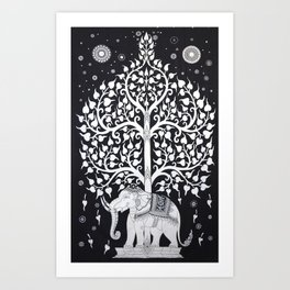 Twin White Indian Hippie Mandala Elephant Tree Of Life Tapestry Hanging Picnic Art Print
