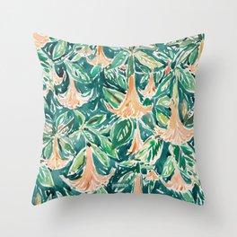 DATURA DREAMS Watercolor Floral Throw Pillow