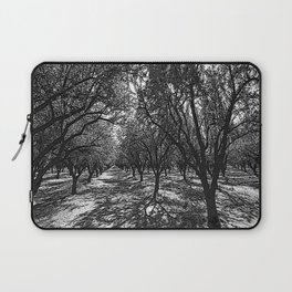 Black & White California Almond Orchard  Pencil Drawing Photo Laptop Sleeve