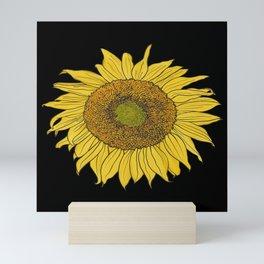 Sunflower on Black by Seasons Kaz Sparks Mini Art Print