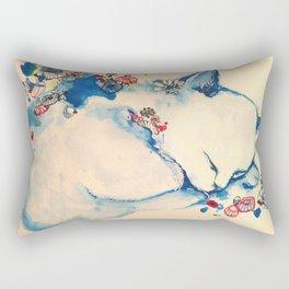 Cat sleeping with flowers Rectangular Pillow