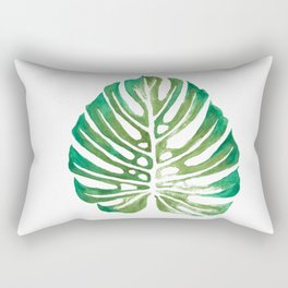 Monstera Leaf Watercolor Painting Rectangular Pillow