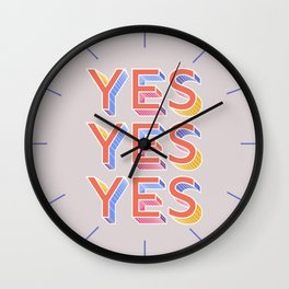 YES - typography Wall Clock