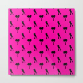 Romantic Couple & Palms Pattern Metal Print