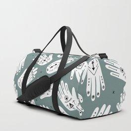 Indian summer eye bohemian hamsa hand of fatima pattern mint teal gray Duffle Bag