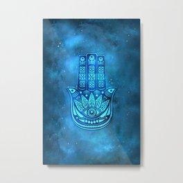 Hamsa Hand Magic Eye Blue Watercolor Art Metal Print