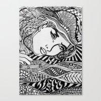 lichtenstein Canvas Prints featuring Zentangle Lichtenstein by butterflyandbear