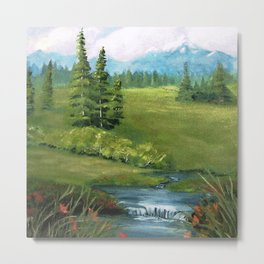 Mountain Stream and Meadow Metal Print