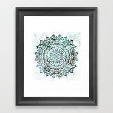 Emerald Jewel Mandala Framed Art Print