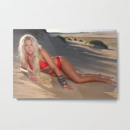 Bond Bikini girl on a Beach Metal Print