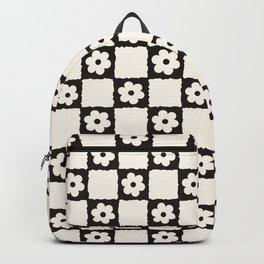Retro Flower Checker in Black&White Backpack