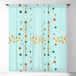 Mid-Century Modern Art Atomic StarDots 1.1 Aqua Blackout Curtain