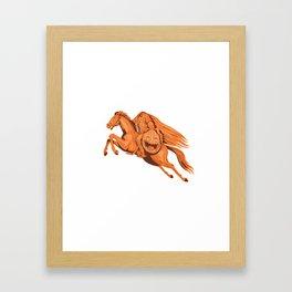 Headless Horseman Pumpkin Head Drawing Framed Art Print