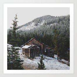 Snowy Cabin Art Print