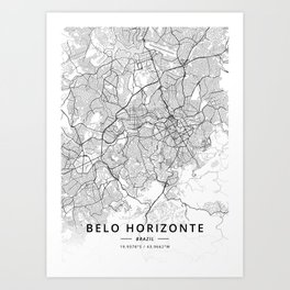 Belo Horizonte, Brazil - Light Map Art Print