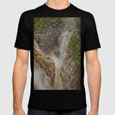 Beautiful waterfall in the rainforest MEDIUM Black Mens Fitted Tee