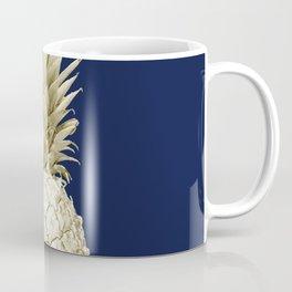Pineapple Pineapple Gold on Navy Blue Coffee Mug