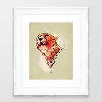 cheetah Framed Art Prints featuring CHEETAH by KUI29