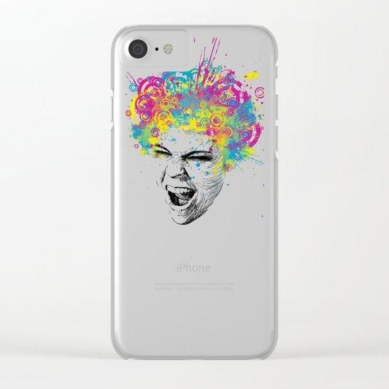 Crazy Colorful Scream Clear iPhone Case