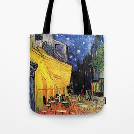 The cafe terrace on the place du forum, Arles, at night, by Vincent van gogh.  Tote Bag