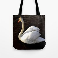 swan Tote Bags featuring swan by Cindy Munroe Photography