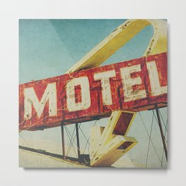 Thrashed Motel Sign Metal Print