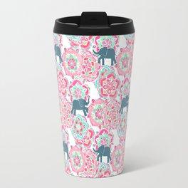 Tiny Elephants in Fields of Flowers Travel Mug