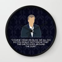 greg guillemin Wall Clocks featuring The Great Game - Greg Lestrade by MacGuffin Designs