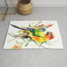 Sun Conure Parakeet, tropical colors parrot art design Rug
