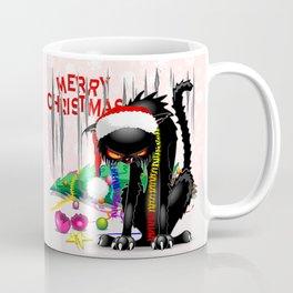 Evil Black Cat VS Christmas Tree Coffee Mug