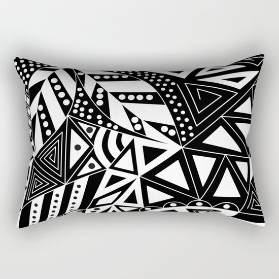 Black and white abstract pattern. 1 Rectangular Pillow