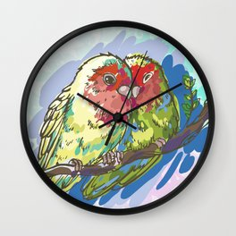 Expressive Parrots Lovebirds Wall Clock